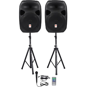 "Rockville RPG122K Dual 12"" Powered PA Speakers"